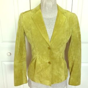 Lime Green Genuine Soft Suede Blazer Coat Leather